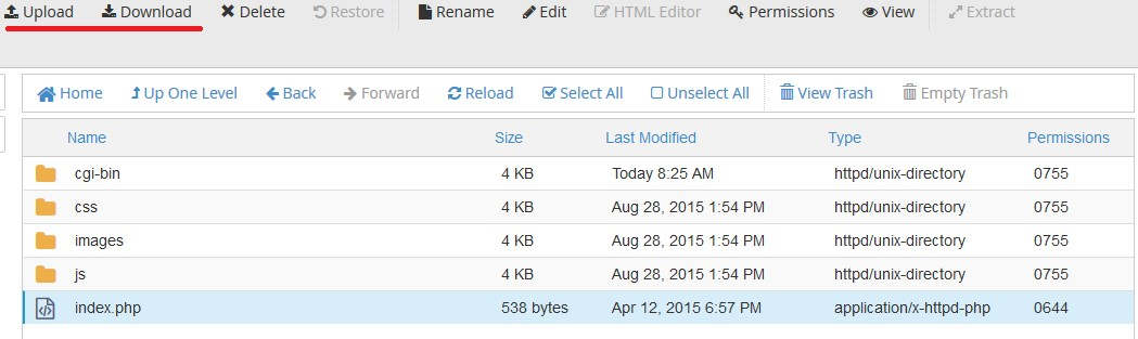 آپلود فایل توسط File Manager در cPanel