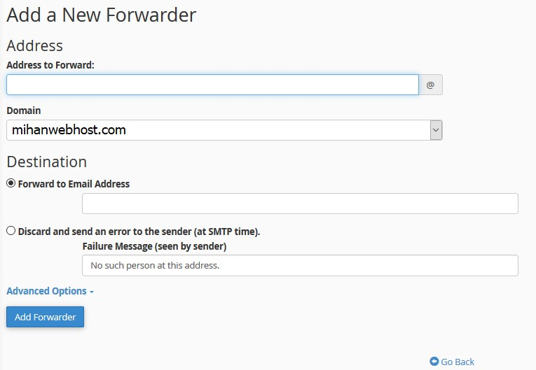 ایمیل-ساخت ایمیل Forwarder در Cpanel