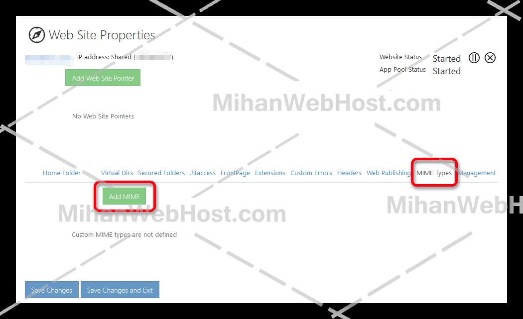 تعریف MIME Types در وب سایت پنل